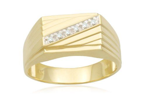 Men S 10k Yellow Gold Diagonal Diamond Ring For Only 221 00 You Save 219 00 50 Free Shipping Mens Gold Rings Titanium Rings For Men Mens Ring Designs