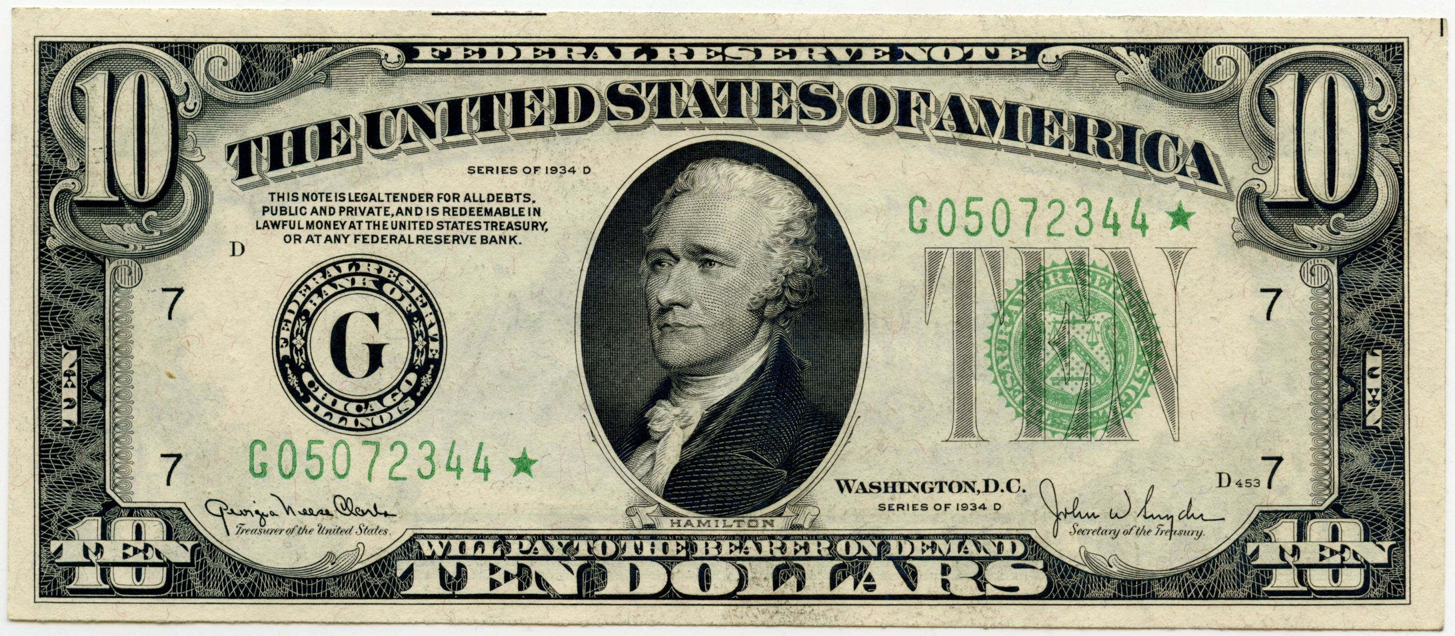 D 10 00 Federal Reserve Note