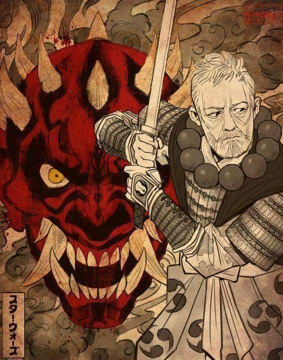 Darth Maul Obi Wan Kenobi Samurai Dessin Star Wars Art Samourai Personnages De Dragon Ball