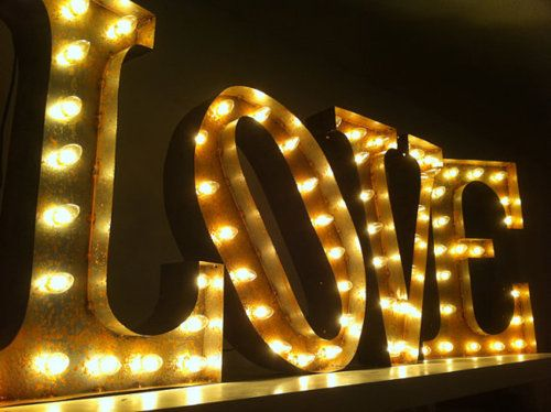 tealcheesecake:    (via Vintage Marquee Lights LOVE by VintageMarqueeLights on Etsy)