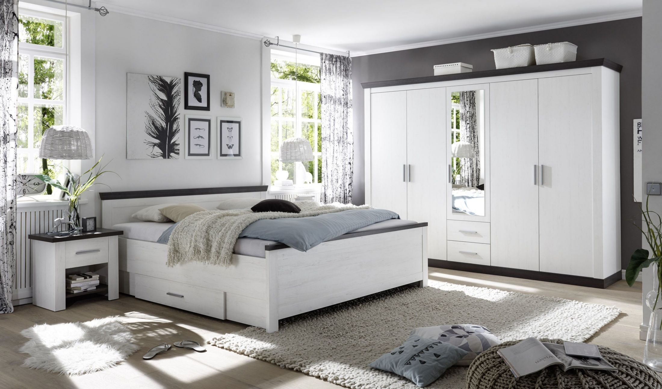Schlafzimmer Mit Bett 180x200 Cm Pinie Weiss Woody 16 00693 Holz Modern  Jetzt Bestellen Unter