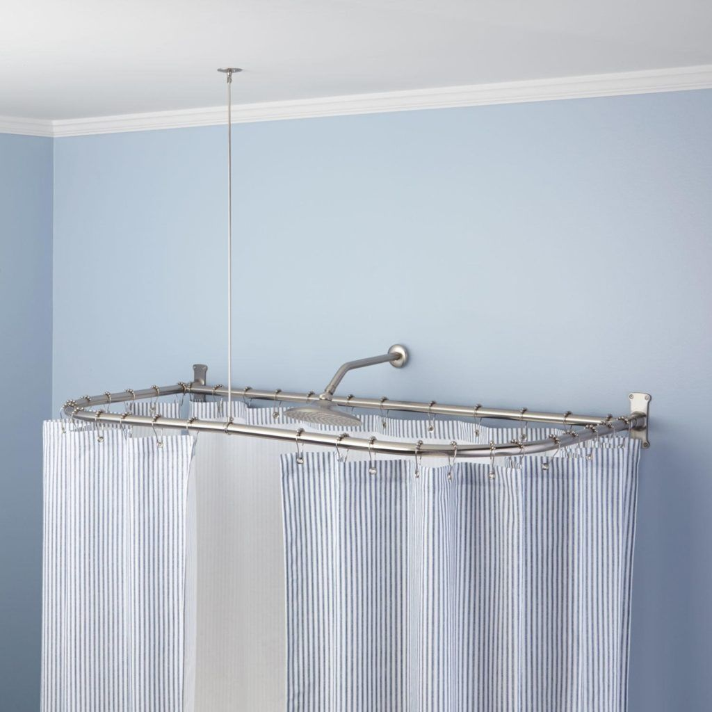 Hotel style shower curtain rod shower curtain pinterest shower