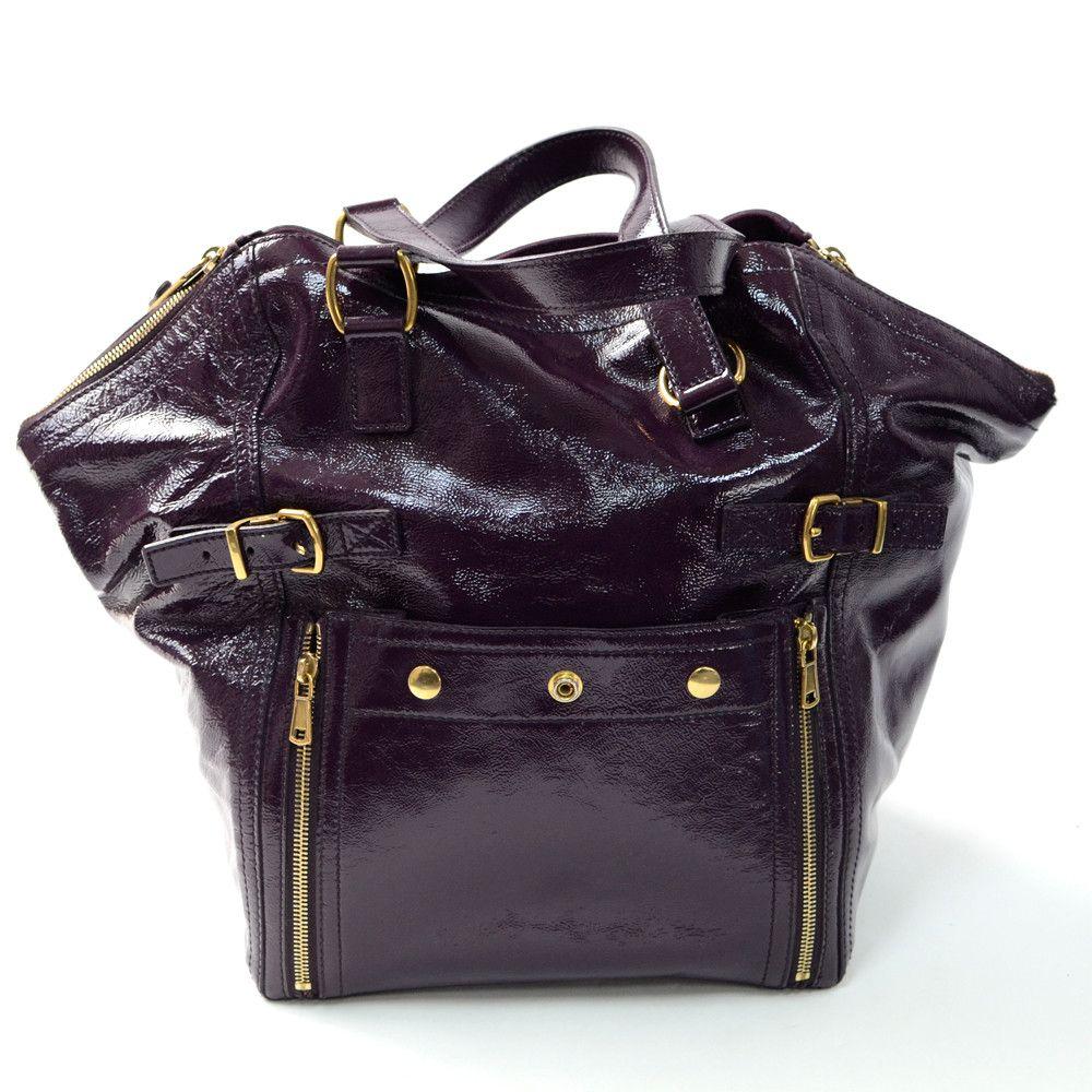 Yves Saint Laurent Downtown Purple Patent Leather | Bags, Shoes ...