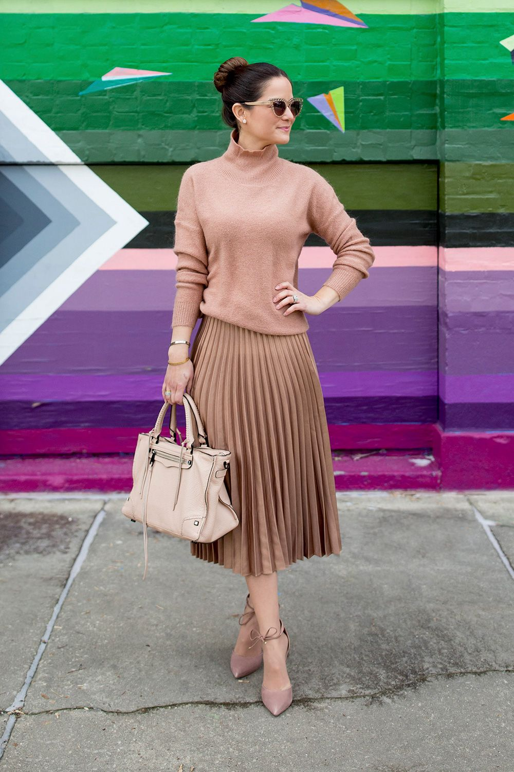 cf84860b0 Turtleneck Sweater + Pleated Midi Skirt (I really like how she tied in the  same hues of color together, and it really looks good)