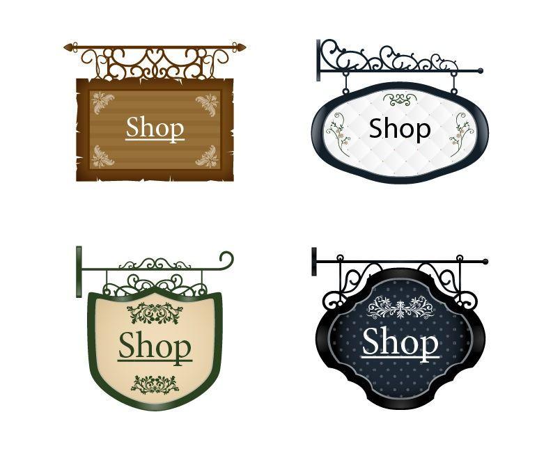 Vintage Signboard Vector Set 2 Shop Signs Signboard Vintage Store Signs