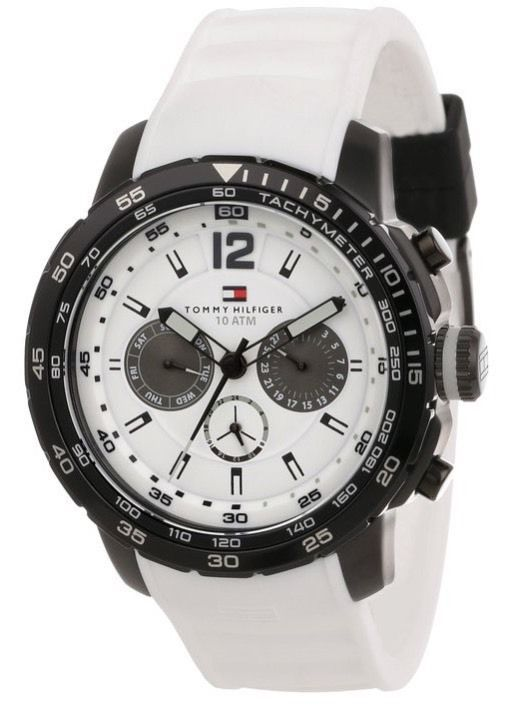 Tommy Hilfiger Mens 1790890  Sport Black Ion-Plated Bezel Multi-Eye White Silico #TommyHilfiger
