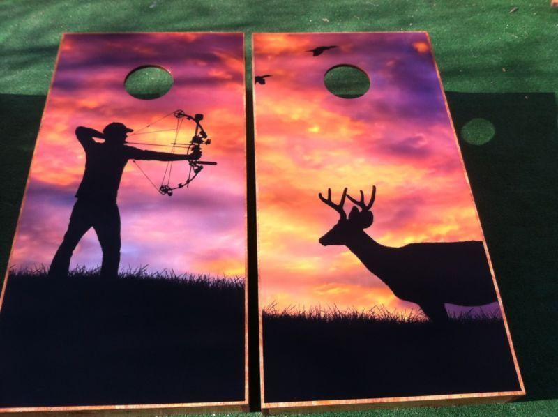Deer Bow Hunter Hunting Themed Cornhole Board Wraps Skins