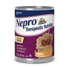 Nepro with Carb Steady Butter Pecan Cans 24 X 8oz Case by Abbott Nutrition. $78.49. In a study of NEPRO as supplemental nutrition(1), patients on dialysis had increased serum albumin, increased serum prealbumin and improved nutritional status (as signified by SGA).  Has Carb Steady carbohydrate blend designed to help manage blood glucose response.  Excellent source of high-quality protein (19.1 g /8 fl oz) to help meet nutritional needs and replace protein lost during dialy...