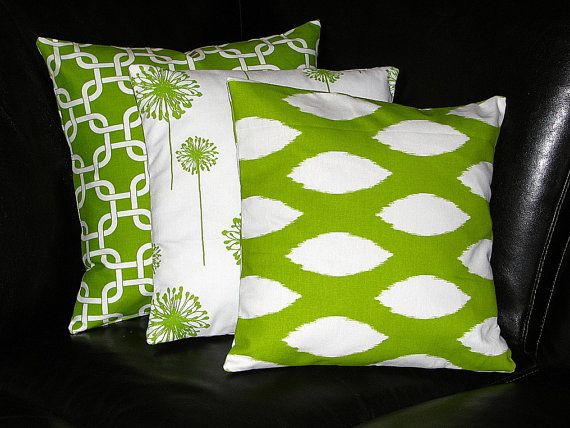 Etsy On Pillows Apple Green White Decorative Pillows TRIO Ikat Magnificent Apple Green Decorative Pillows
