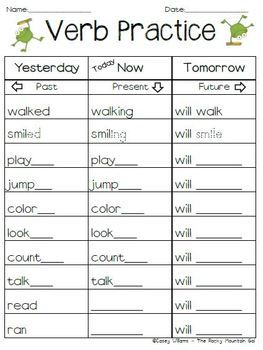Free verb practice my idea make it into  smartboard partner game for literacy center time to review this ccss also past present future tense nd grade pinterest rh