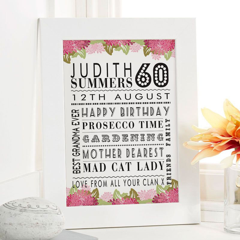 60th birthday gift for her of personalised age print