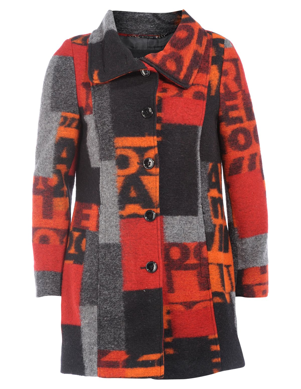51442893f6cc Printed wool-blend coat in Black / Red designed by Steilmann to find in Category  Coats & Jackets at navabi.de