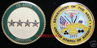 $11 96 - Four Star General Us Army Challenge Coin Rank O-10 4 Star