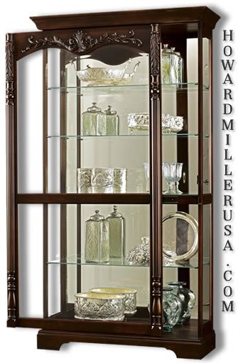 Attractive Howard Miller Large Cherry Curio Display Cabinet Glass Mirror | 680 497  Felicia