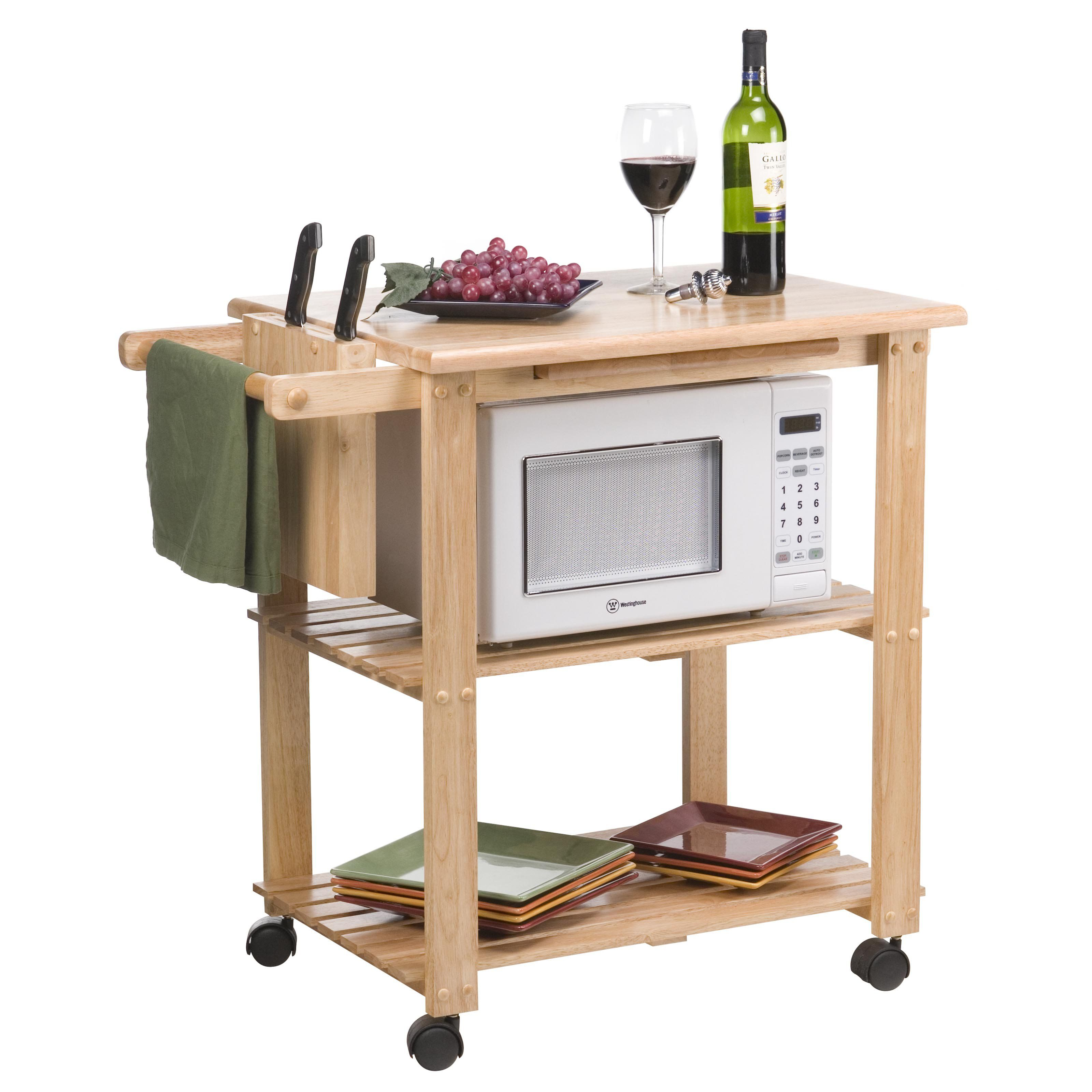 The Stetson Microwave Cart  From Hayneedle  Kitchen Storage Fascinating Small Kitchen Island On Wheels Decorating Inspiration