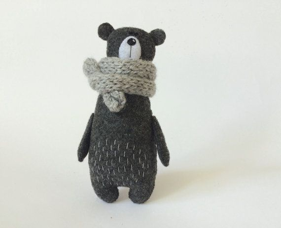 Felt Bear In A Knitted Scarf, Stuffed Bear, Gift For Her, Felt Animals, Teddy Bear Toy, Miniature Bear Woodland Plushie #knittedtoys