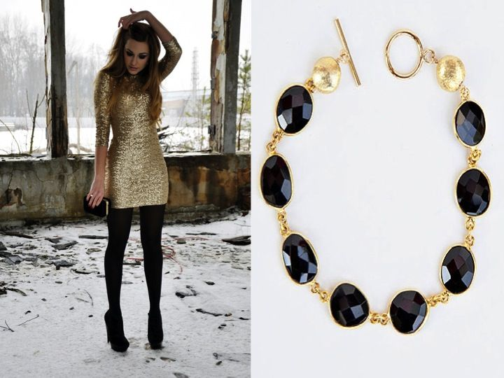 Our Gumdrop Bracelet in Black Onyx would pull the black and gold details of this outfit together perfectly.
