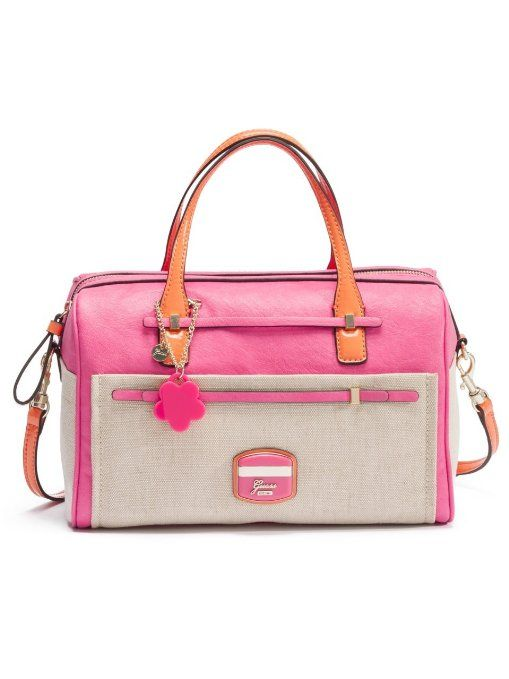 Guess Huma Canvas Box Satchel Pink Multi A Vibrant Feminine Youthful