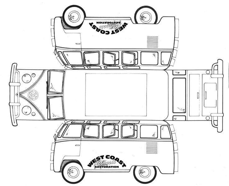 Vw Bus Auto Basteln Papierschablonen Karton Basteln