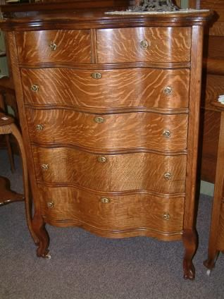 Salado Creek Antiques Quartersawn Oak Clawfoot Highboy