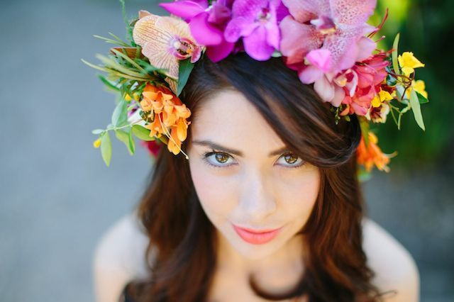 Orchid flower crown | Joielala Photography | see more on: http://burnettsboards.com/2014/05/colorful-tropical-wedding-ideas/ #flowercrown