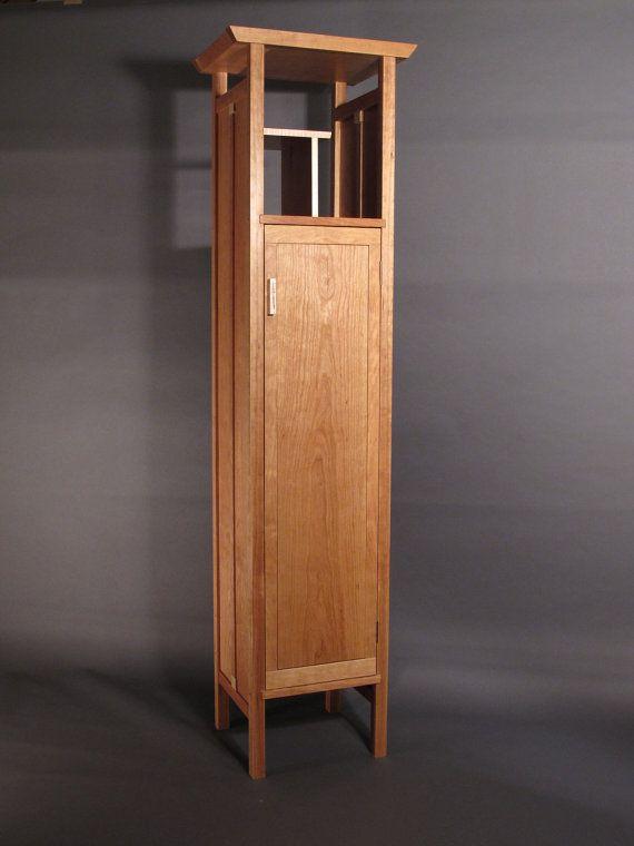 De altura, estrecho armario gabinete: En cerezo - Custom madera ...