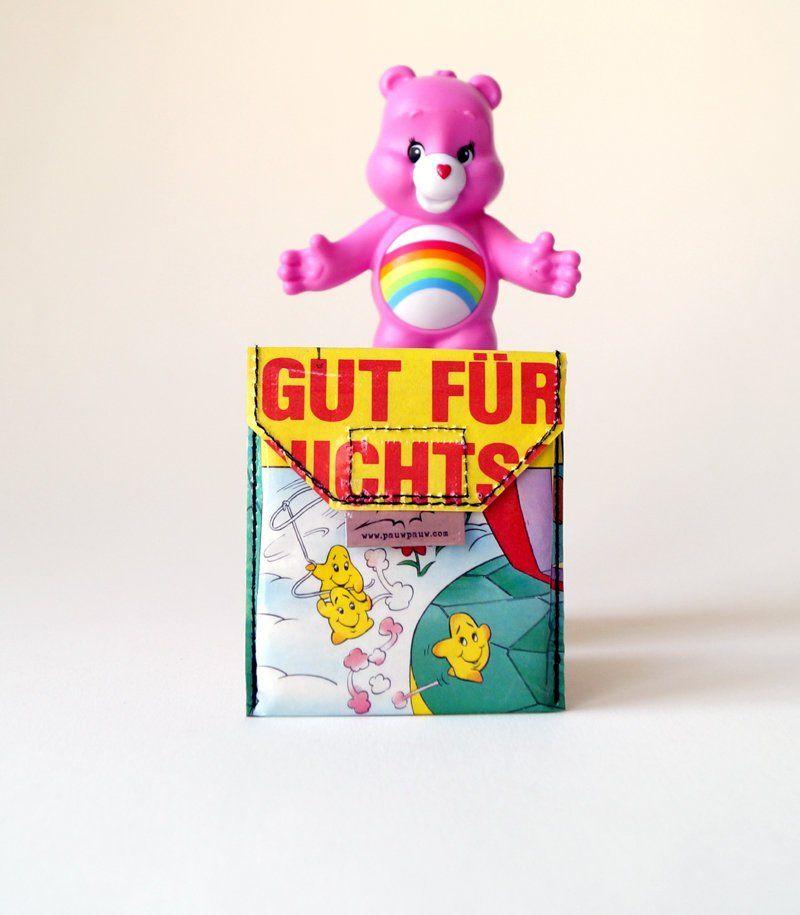 Glücksbärchis Kartentäschchen Comic Upcycling Unikat