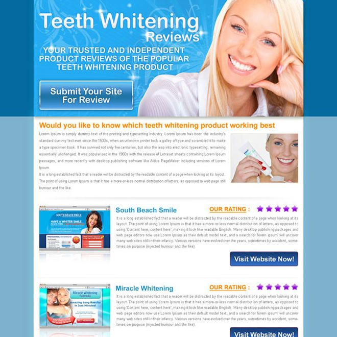 Teeth Whitening Top  Website Review Html Landing Page Design