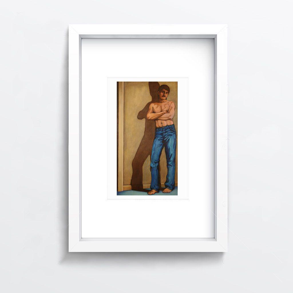 home office artwork. Blue Jeans - Oil Painting, Print, Color, Canvas, Male, Figurative, Portrait, Artwork, Home, Office, Decor, Wall Art Home Office Artwork