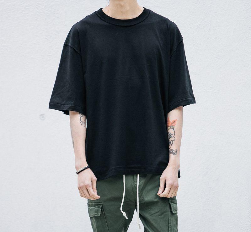 Man Streetwear Justin Bieber Tshirts Urban Clothing Kanye Plain White Grey Black Oversized Shirts Blank Mens Streetwear Mens Tops Casual Japanese Mens Fashion