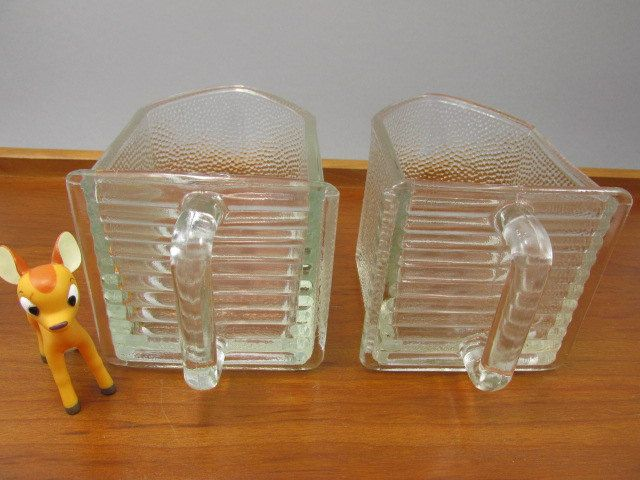 2 Large German Glass Scoops Glass Jars Glass Drawers Pourer