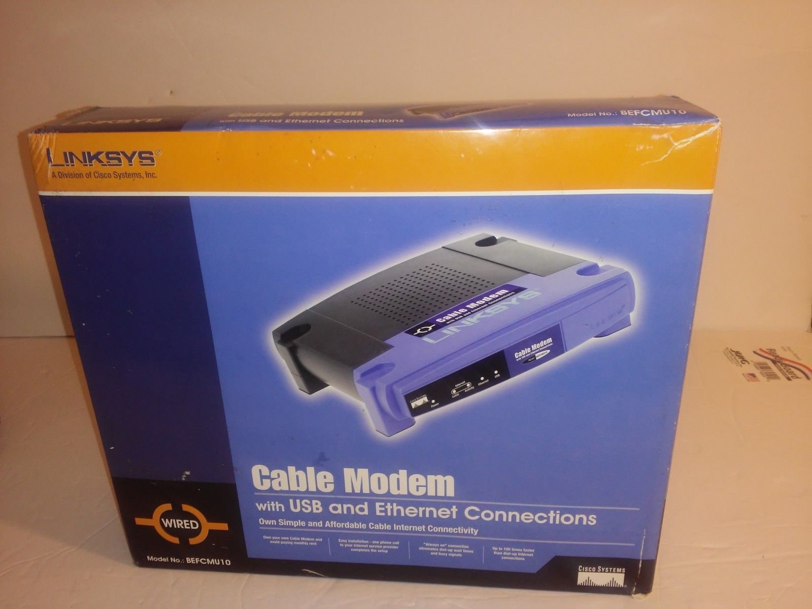 $41 90 free shipping linksys cisco cable modem router docsis 1 1/2 0 with  usb/ethernet (befcmu10 v3)