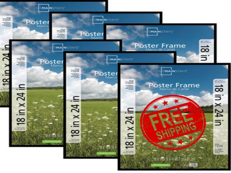 Mainstays 18x24 Basic Poster And Picture Frame Black Set Of 6 Free Shipping Poster Frame Break Room