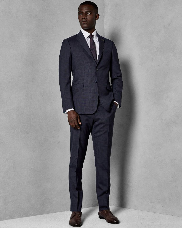 38724edc4c3a Checked wool suit trousers - Navy