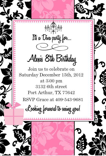 Black white and pink girls birthday party invitation by purpletrail create free online invitations with our free online invitation maker design center find the perfect free online invitations template for your party stopboris Image collections