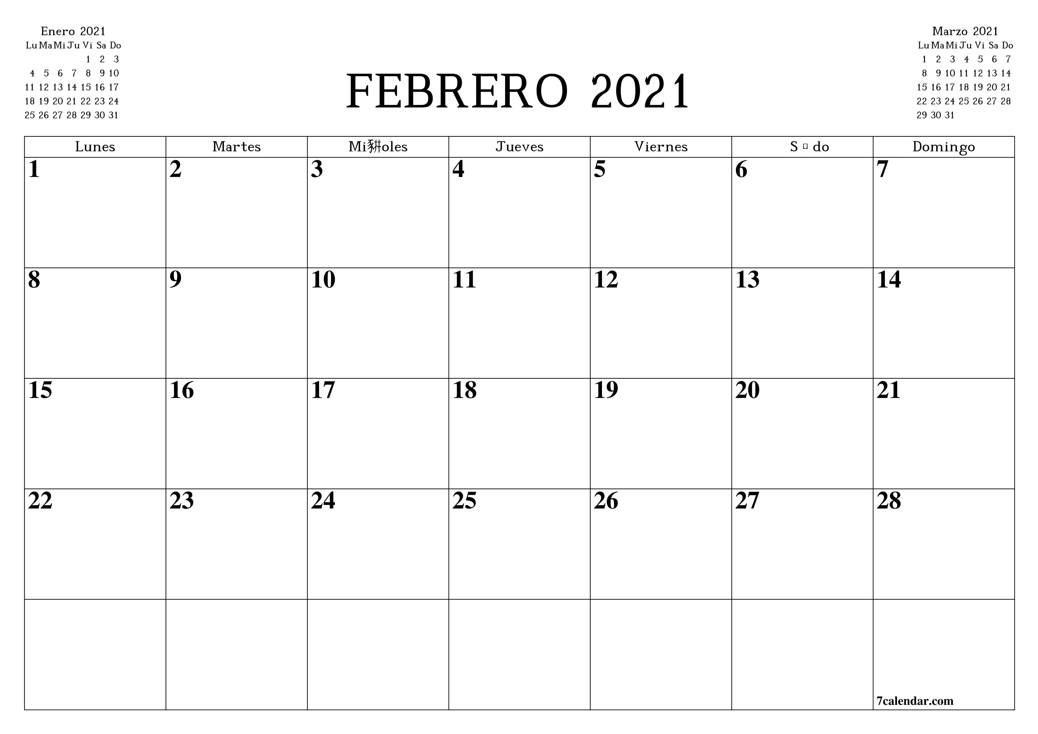 Calendario en blanco imprimible A4, A5 y A3, PDF y PNG Febrero