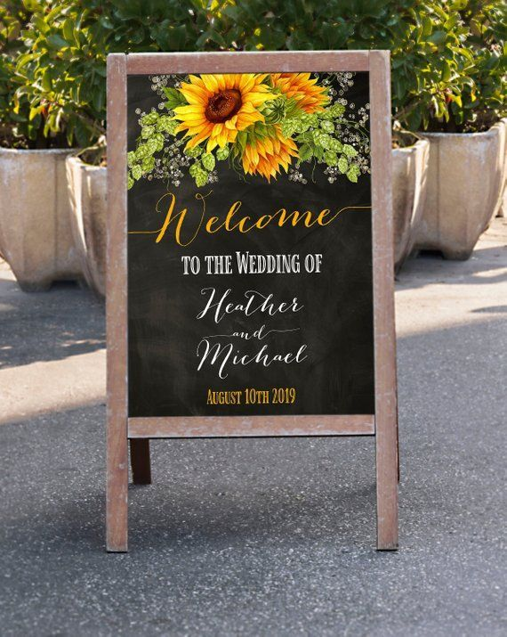 Welcome Wedding Sign Sunflowers Chalkboard Welcome Sign Personalized Custom Rustic Sign Summer Country Fall Wedding Signchalkboard