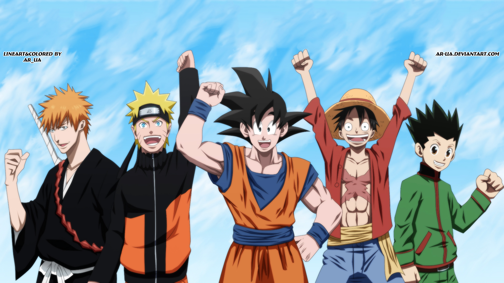 Dragon Ball One Piece Naruto Wallpaper in 2020 (With