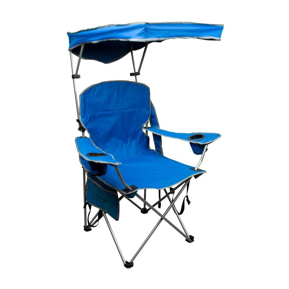 Quik Shade Royal Blue Patio Folding Chair With Sun