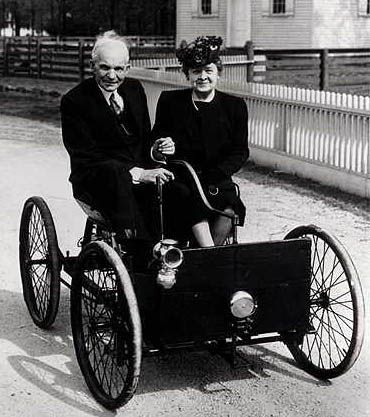1896 Ford Quadricycle Henry And Clara Ford In 1946 On The 50th