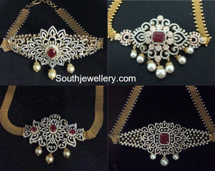 18 Carat Gold 2 In 1 Choker Plus Armlet Bajuband Designs Adorned With Diamonds Ru Diamond Pendants Designs Diamond Jewelry Designs Bridal Jewelry Collection