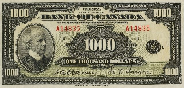 Value of 1935 $1000 Bill from The Bank of Canada | Canadian