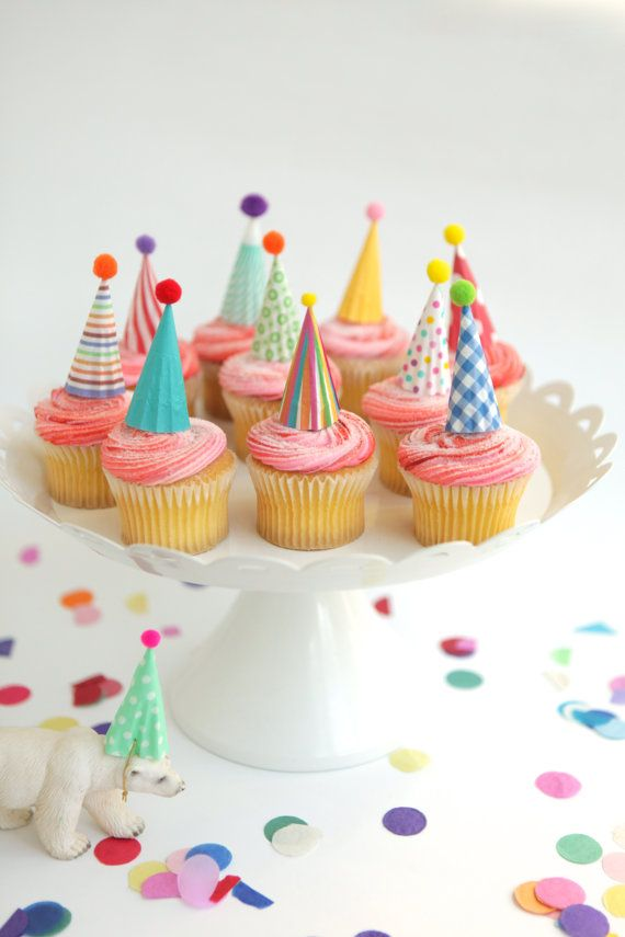 Cupcake and Cake Toppers, Mini Party Hats, Bright Colors