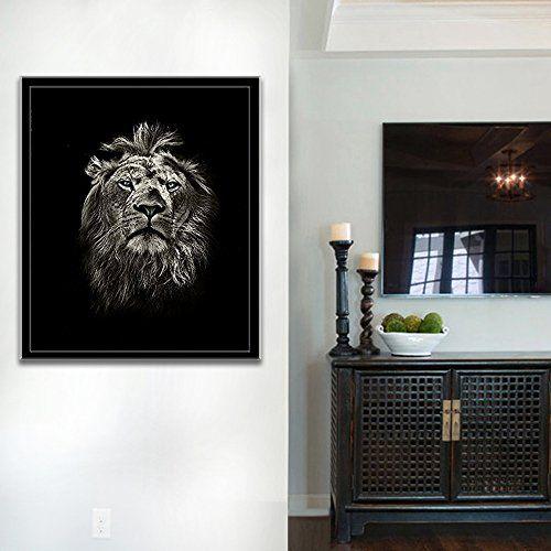 Painting Walls Black lion painting wall art on canvas black white animal pictu https