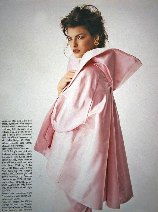 """A Budding Affair"""". Linda Evangelista photographed by Peter Lindbergh for Vogue UK, May 1988"""