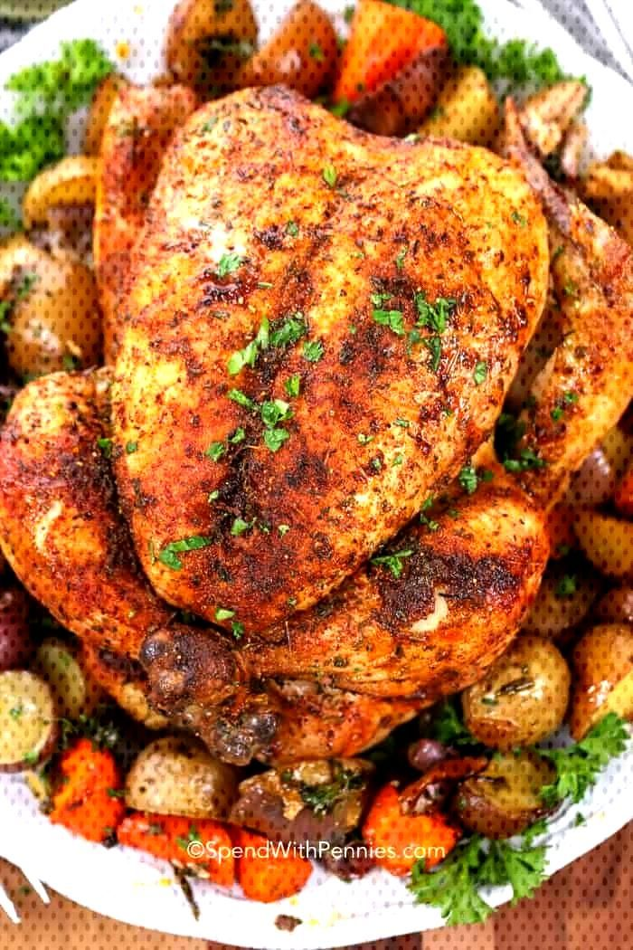 This juicy whole roast chicken is the easiest oven baked chicken recipe ever. We love making this r
