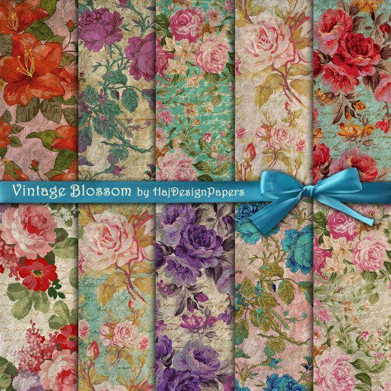 VINTAGE BLOSSOM - Digital Collage Sheet - Digital Paper - Decoupage - Scrapbook - Shabby Chic - Floral Paper - Vintage Paper - Old Paper