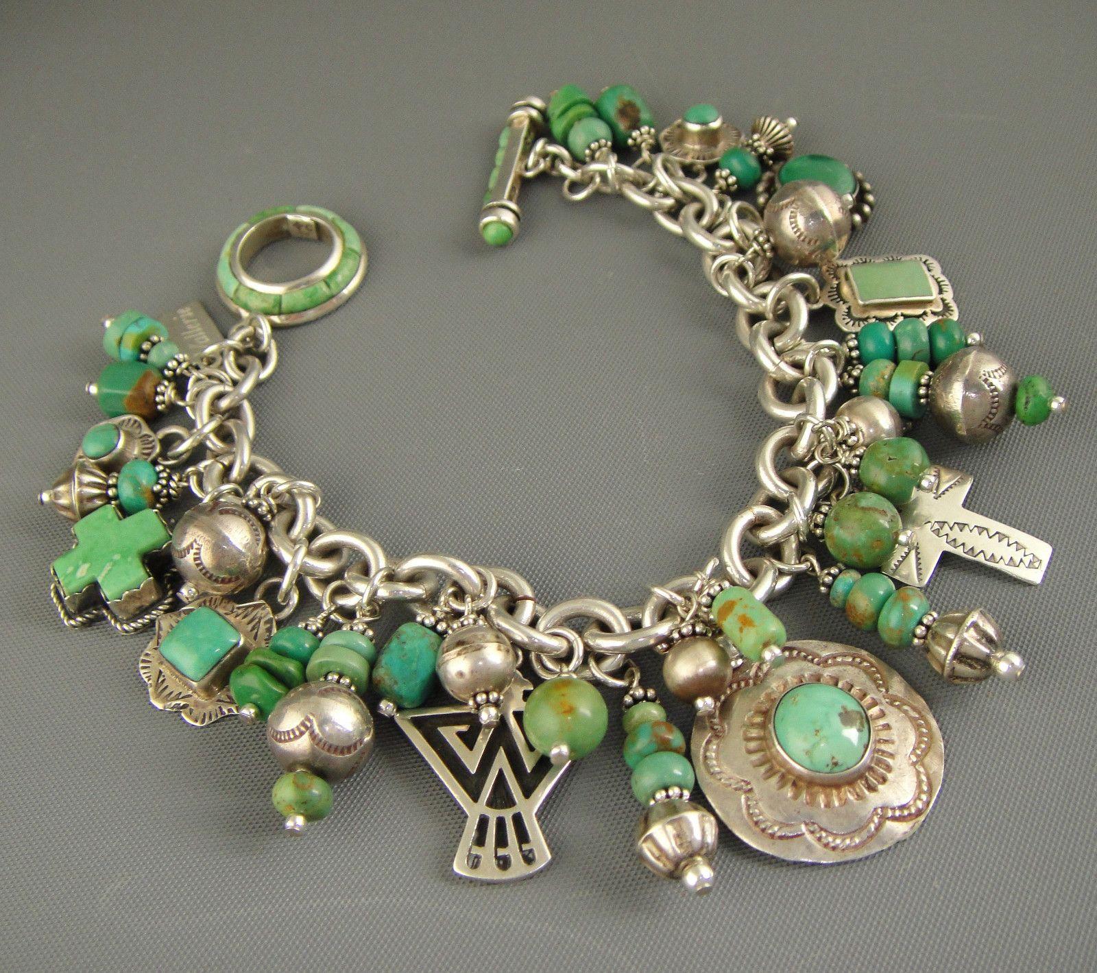 Vintage navajo green turquoise joan slifka cross pendant charm vintage navajo green turquoise joan slifka cross pendant charm bracelet necklace aloadofball Image collections