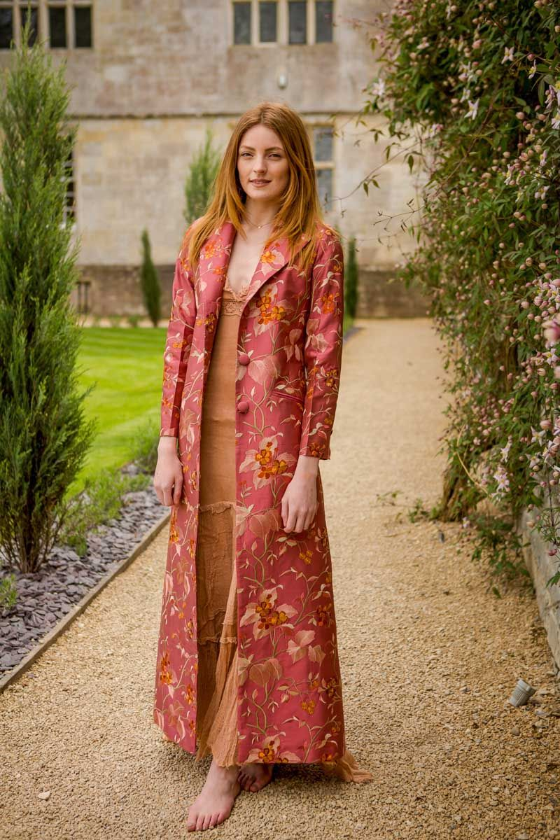 Pink dress and jacket for wedding  Shibumi  GABARDINAS  Pinterest  Embroidered silk Silk and