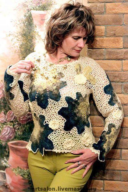 """Camisolas e blusas feitas à mão.  Jumper """"cremoso"""".  Art Salon Svetlana Kobzeva.  Loja de Mestres Fair on-line."""